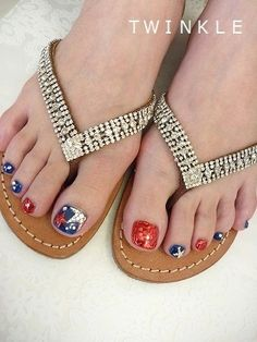 4th of July Pedi, American flag pedicure, red white & blue nails