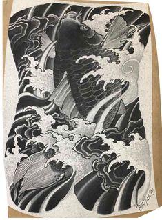 Koi Dragon Tattoo, Carp Tattoo, Koi Fish Tattoo, Japanese Water, Japanese Flowers, Geisha, Thailand Tattoo, Full Back Tattoos, Traditional Tattoo Design