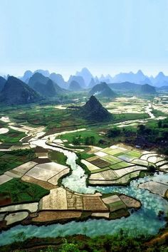 Rice fields around the Mountains in Guilin, Guangxi province,