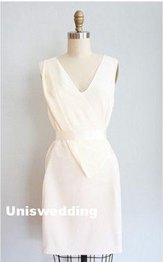 Beige V neck unique design short satin short by Uniswedding, $185.00