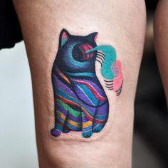 Surreal Cat Tattoo by David Cote