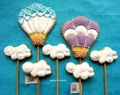 Blue & Purple Hot Air Balloon and Clouds Cookies