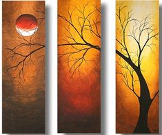 """""""Midnight Rise"""" Original Painting by Megan Duncanson This is an original acrylic painting by Megan Aroon Duncanson. It was created on (3)10""""x20"""" gallery wrapped canvases."""