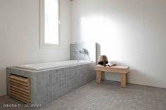 Minimalist bathroom / Pelkistetty kylpyhuone Stone Bathroom, Saunas, Minimalist Bathroom, Dream Bathrooms, Washroom, Bathroom Inspiration, Natural Stones, My House, Interior Decorating