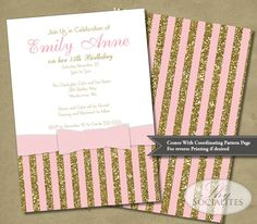 Blush Pink and Gold Glitter Bow Invitation | Stripes 1920s Baby Shower Bridal Shower Wedding | INSTANT DOWLOAD you edit text #Pink #Wedding #PinkWedding #Paper