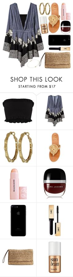 """Maldives Day 2- Dinner"" by datumacias ❤ liked on Polyvore featuring Kate Spade, Jack Rogers, Buxom, Marc Jacobs, Yves Saint Laurent, H&M, Benefit and Jennifer Meyer Jewelry"
