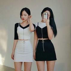 edgy korean fashion that looks trendy 53847 Couple Outfits, Kpop Outfits, Edgy Outfits, Korean Outfits, Twin Outfits, Korean Fashion Trends, Korea Fashion, Asian Fashion, Cute Fashion