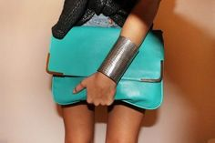 oversize turquoise clutch and braclet