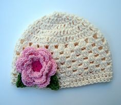 Crochet Baby Girl Hat, Cotton Crochet Beanie Summer Hat, Cream, Light Pink, Hot Pink, Sage Green-MADE TO ORDER. $22.00, via Etsy.