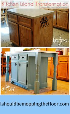 This kitchen island makeover ROCKS!!!