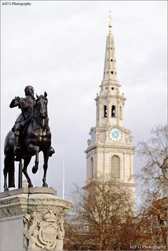 Equestrian Statue of Charles I and St Martin's-In-The-Fields.London by Jeff G Photography, via Flickr