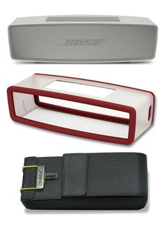 Bose SoundLink Mini II Pearl Bluetooth Speaker Bundle with Deep Red Cover and Travel Bag. This bundle contains 3 products: (1) Bose SoundLink Mini Bluetooth Wireless Speaker II Pearl, (1) Bose SoundLink Mini silicone bumper cover in the color Deep Orange and (1) Bose SoundLink Mini Travel Bag.