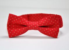 Boy's Bow Tie - Red and Gold Polkadot Bowtie - Christmas Bow Tie - Boy  - Baby - Toddler - Teen - Boy