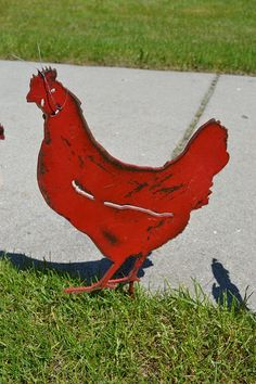 Red Metal Chicken  Yard Art Garden Stake by RCFCreations on Etsy, $26.00