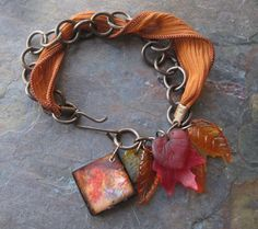 Autumn Dangle Bracelet - another pretty bracelet design by Kristy feature JLynnJewels original watercolor artwork digitized for my miniature ART tiles :)