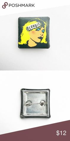 """'06 Blondie Pin 2006 Blondie Pin Pinback Button Badge  • Genuine vintage  • 1"""" x 1"""" • Colors: white, black, blue, yellow • Condition: some surface scratches • Themes: pop, punk, music, new wave, square, Debbie Harry • All of the pins I sell are vintage and may contain minor nicks, imperfections, oxidation, or slight bubbling Vintage Accessories"""