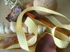Sunshine Yellow Gingham Ribbon 15mm by AuntyJoanCrafts on Etsy