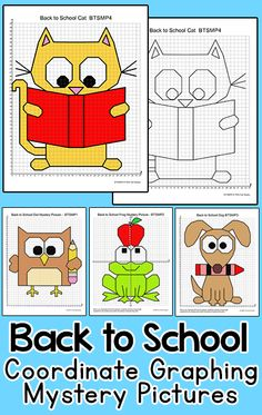 Practice plotting ordered pairs with these fun coordinate graphing Back to School theme mystery pictures! This activity is easy to differentiate by choosing either the first quadrant (positive whole numbers) or the four quadrant (positive and negative whole numbers) worksheet. Students will love the cute cat, dog, owl and frog characters. By Pink Cat Studio