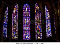 Old stained-glass windows in Cathedral of Our Lady of Chartres in Chartres. Cathedrale Notre-Dame de Chartres is on the UNESCO list.