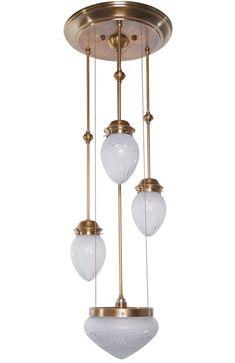 Vierflammige Jugendstil-Pendelleuchte PANNONIA von Art Nouveau Lamps