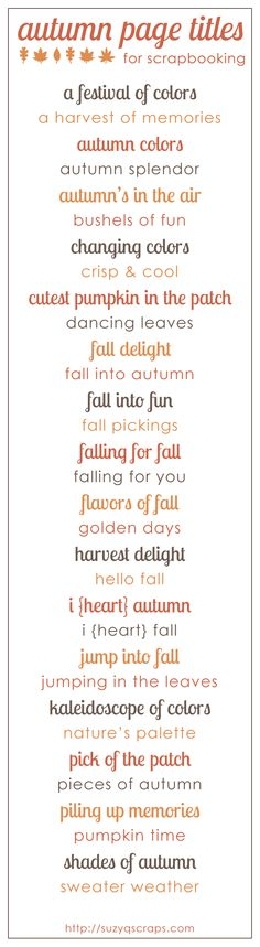fall scrapbook page titles