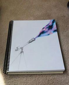 Microscope galaxy space drawing