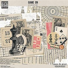 Game on by Maya de Groot, An mini kit for your gaming layouts or Art Journal, in a vintage style.