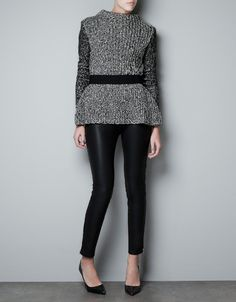 Twist Knit Peplum Sweater in charcoal.   Charcoal is one of my most favorite colors to include during the winter months. Looks fab on everyone.