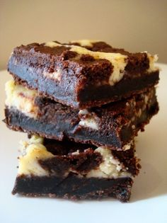 "Black and White Brownie Cheesecake Squares. ""The chewy, dense brownie ..."