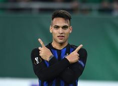 Lautaro Martínez of FC Internazionale celebrates after scoring the. Europa League, Scores, Football, Goals, Celebrities, February 14, Vienna Austria, Villa, Ship