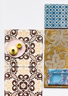 Moroccon style tiles, gold and something blue. What a charming combination. Style Tile, Something Blue, Earthy, Tiles, Kids Rugs, Wood, Colors, Brown, Home Decor