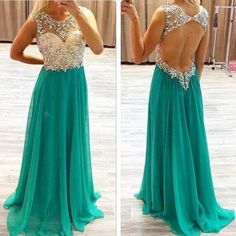 A-line sleeveless natural backless beading chiffon teal prom dresses