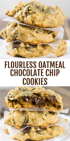 Flourless Peanut Butter Oatmeal Chocolate Chip Cookies - so easy to make and a healthier alternative to regular cookies! Gf Recipes, Sweet Recipes, Cooking Recipes, Healthy Recipes, Healthy Sweets, Healthy Baking, Healthy Snacks, Nutritious Meals, Patisserie Sans Gluten