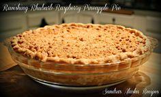 SANDRA'S ALASKA RECIPES: SANDRA'S RAVISHING RHUBARB-RASPBERRY-PINEAPPLE PIE (Click image for recipe...)
