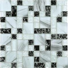 Versailles Pattern Black & White Glass Mesh Mounted Mosaic Tile #versailles_pattern_mosaic_tile #white_glass_marble_tile Ceramic Mosaic Tile, Stone Mosaic Tile, Mosaic Glass, Glass Art, Black Wall Tiles, Black Walls, Tiles For Less, Mother Of Pearl Backsplash, Versailles Pattern
