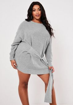 Missguided Plus Size Gray Tie Waist Sweater Dress Plus Size Sweater Dress, Plus Size Sweaters, Jumper Dress, Knit Dress, Plus Size Dresses, Plus Size Outfits, Short Gowns, Grey Tie, Formal Dresses For Weddings