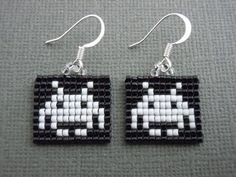 Space Invader Earrings Seed Bead Video Game Jewelry by Pixelosis, $20.00