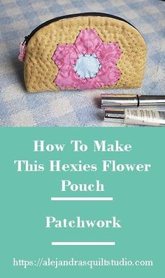 How To Make a Pouch With Hexies. Hey, if you love to make patchwork and small quilting projects I'm sure you'll love this full tutorial to make a cute quilted pouch with hexies. #quilting #quiltingtips #patchwork #tutorial #sewing #sewingtutorial #sewinginspiration # #sewingpattern #freepattern