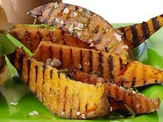 Grilled sweet potatoes with lime and cilantro. Use coconut oil instead and make it #paleo