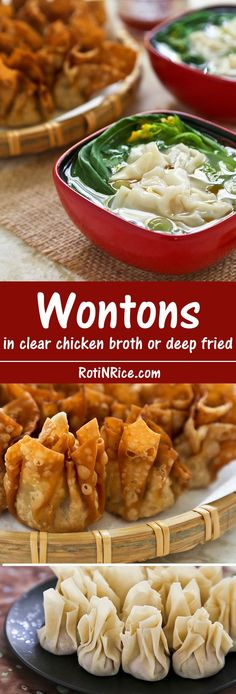 Silky smooth Wontons in clear chicken broth are great as a starter or appetizer. They can also be deep fried to perfection as finger foods. | Food to gladden the heart at http://RotiNRice.com