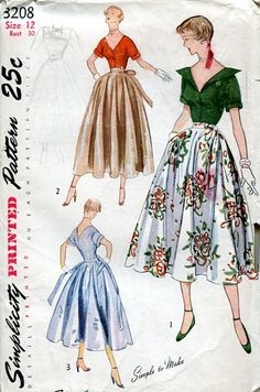 Sewing Patterns Vintage Out of Print Retro,Over 7000 ,Vogue Simplicity McCall's - Simplicity 3208 Retro 1940's Cocktail Top Skirt 30