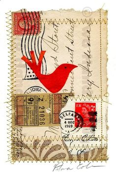 collage panels that link to your letters Illustrate a small sentence or word within them Kunstjournal Inspiration, Art Journal Inspiration, Mail Art, Fabric Postcards, Grafiti, Envelope Art, Postcard Art, Photocollage, Bird Illustration