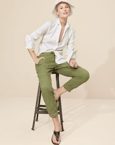 We're making everyone's favorite closet classics even better, with lace-up details, perfectly slouchy fits and a little safari inspiration.  J.Crew women's Thomas Mason® for J.Crew boy shirt, pull-on cargo pant, denim bucket hat and playa sandals