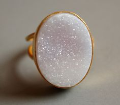Lilac Pink Agate Druzy Ring - Soft Pink, Natural Gradient - Adjustable Ring. $75.00, via Etsy.