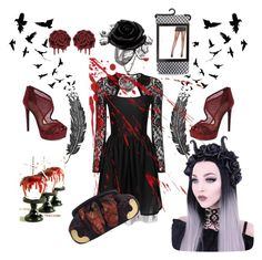 """Halloween Goth Theme"" by michellesivo on Polyvore featuring interior, interiors, interior design, home, home decor, interior decorating, Jessica Simpson, Leg Avenue and Miu Miu"