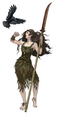 f Druid Med Armor Glaive Crow Companion lg Fantasy Girl, High Fantasy, Fantasy Warrior, Fantasy Rpg, Medieval Fantasy, Fantasy Artwork, Female Character Inspiration, Female Character Design, Fantasy Inspiration