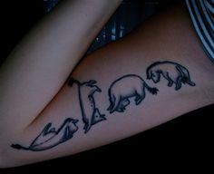 Too cute Eeyore tattoo. ALGO ASÍ PERO CON CORCHIS SALTANDO!!! I LOVE IT!