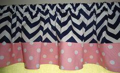 Navy Blue chevron with Pink White Polka dot curtain and dust ruffle, get sewing grandma Polka Dot Curtains, White Curtains, Valance Curtains, Girl Nursery, Girl Room, Nursery Ideas, Baby Room, Bedroom Ideas, Baby Decor