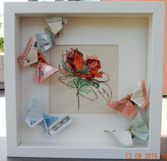 Money gift for the wedding Embroidered flower and butterflies folded out of banknotes. A wonderful gift. Wedding Picture Frames, Wedding Frames, Marriage Gifts, Birthday Pictures, Flower Frame, Embroidered Flowers, Diy Art, Diy Gifts, Wedding Gifts