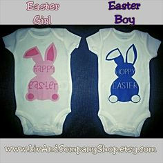 www.LivAndCompanyShop.etsy.com  Happy Easter baby onsies & kids Easter shirts featuring bunnies in several colors with any phrase you'd like at Liv & Co. Designs & images ©Liv & Co. 2014-15 duplication prohibited by law. Get yours in my Etsy shop.